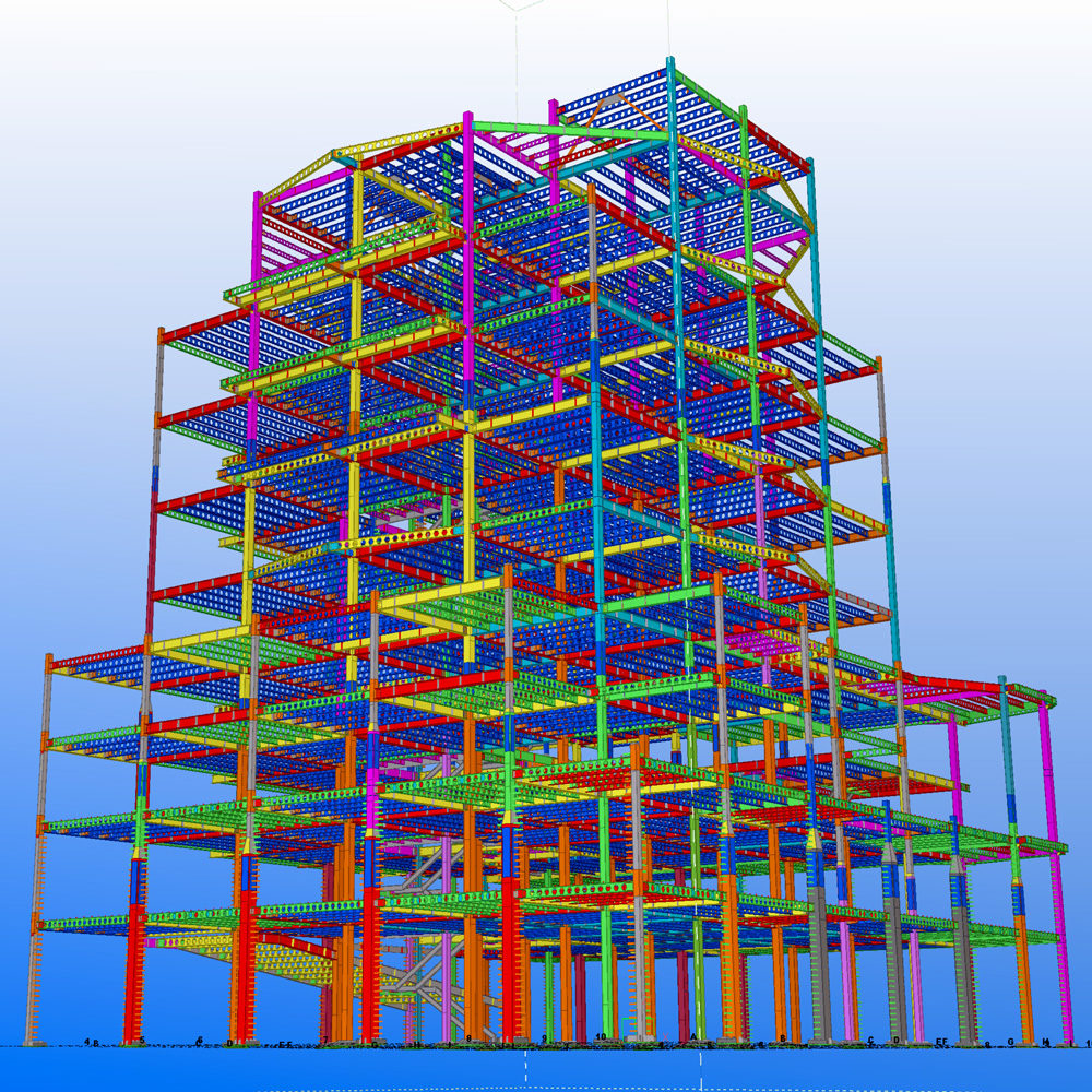Shop drawing of steel tower